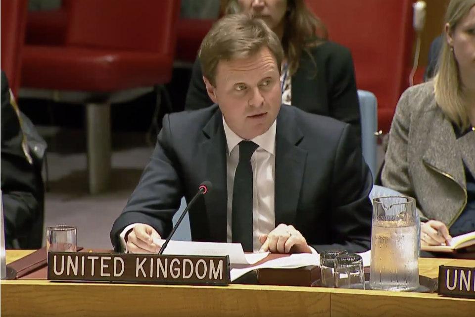Stephen Hickey, UK Political Councillor to the UN, at the Security Council.
