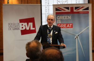 The Lord Mayor at the launch of a Guide to Green Bonds, financed by the British Embassy in Lima, to set up green bonds in Peru.