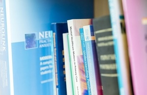 Mental healthcare books on a book shelf