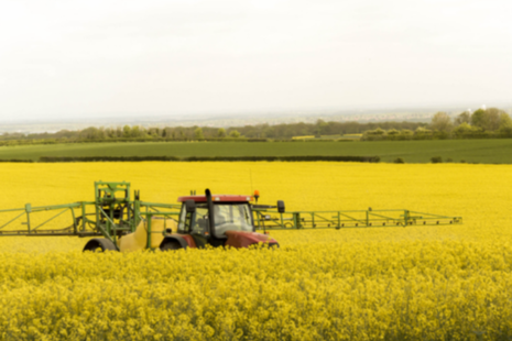 A tractor spraying crops