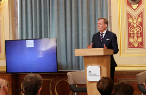Crawford Falconer speaks at the launch of the international trade profession