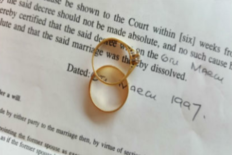 Divorce papers and wedding rings