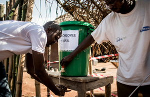 NGO workers wash their hands before entering an Ebola isolation unit and health centre during a previous outbreak of the disease in Muma, DRC on June 11, 2017. Picture: Start Network/ALIMA/JOHN WESSELS