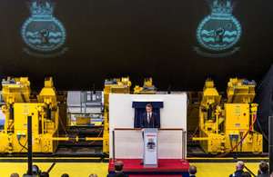 Defence Secretary addresses BAE Systems' employees in the new Central Yard Facility in Barrow