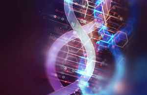Illustration of DNA strands on abstract technology background (credit: whiteMocca/Shutterstock).