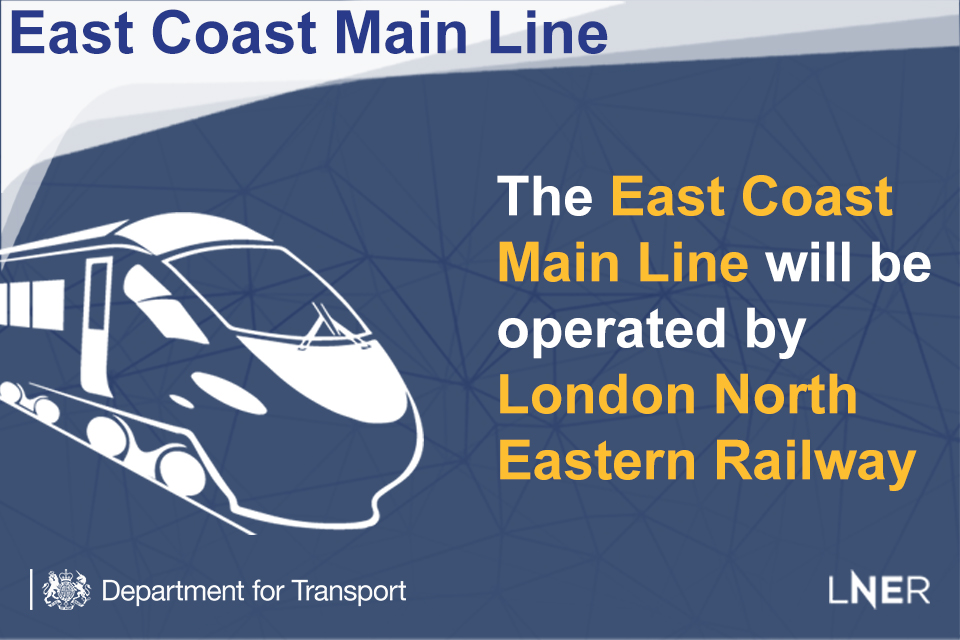 The East Coast Main Line will be operated by London North Eastern Railway.