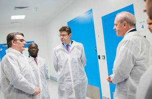 Greg Clark and Sam Gyimah at the Cell and Gene Therapy Catapult Manufacturing Centre
