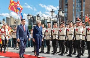 Prime Minister Theresa May speaks in Skopje as the first British Prime Minister in almost 20 years to visit Macedonia
