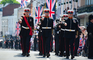 Today 250 members of the Armed Forces were on parade in Windsor to help celebrate the Royal Wedding of HRH Prince Henry of Wales and Ms Meghan Markle. Crown copyright.