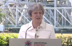 Prime Minister Theresa May speaking at Jodrell Bank.