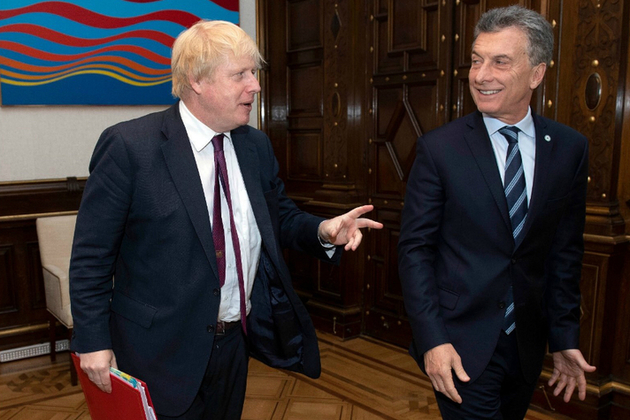 Foreign Secretary Boris Johnson with President Macri of Argentina
