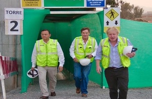 Foreign Secretary Boris Johnson tours site of the athletes' village for upcoming Lima 2019 Pan American and ParaPan American Games