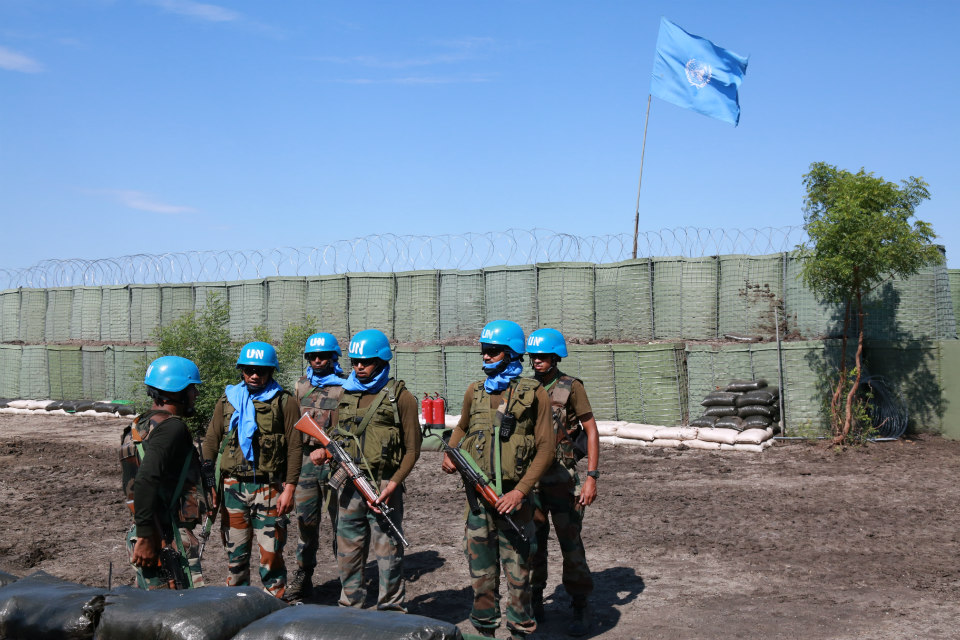 Peacekeepers with the Indian battalion serving with the United Nations Mission in South Sudan (UNMISS), in Akobo, in north-east South Sudan. (UN Photo/Nektarios Markogiannis)