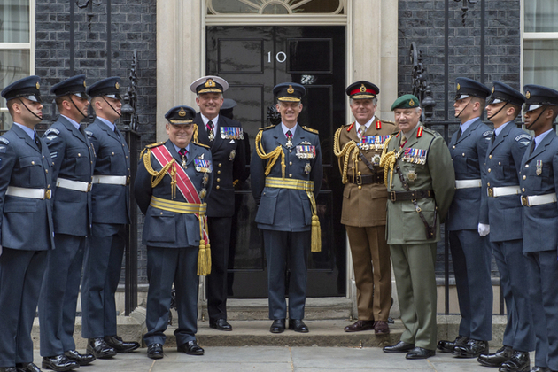 Chief and Vice-Chief of Defence Staff and three Service Chiefs on the steps of 10 Downing Street. Crown copyright.