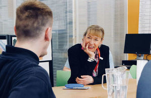 Leslie Evans speaking with young people at Polmont Young Offenders Institution