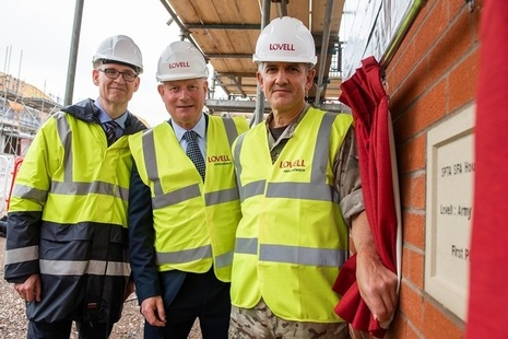 Stone unveiling at construction of homes for Army Basing Programme in Wiltshire. Pictured is (L – R) Mark Duddy, DIO; John Leary, Lovell; Lieutenant General Nick Pope CBE, Deputy Chief of the General Staff.