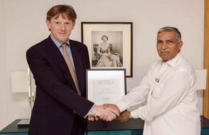 Her Majesty The Queen awards Master Ayub with Commonwealth Points of Light