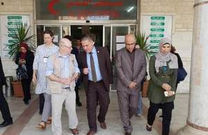 Minister Burt at a hospital in Gaza.