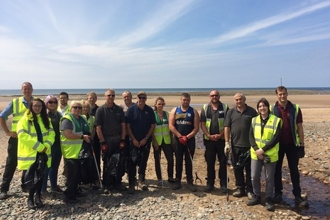 Volunteers from LLWR and GRAHAM Construction ahead of their major Beach Clean