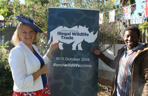 Kate Airey, OBE, UK High Commissioner to Namibia, with Namibian musician Elemotho, who is Brand Ambassador for Save The Rhino Trust Namibia