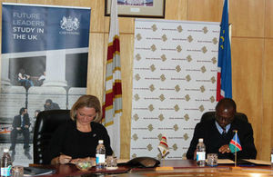 Kate Airey, OBE, UK High Commissioner to Namibia, with Bank of Namibia governor Iipumbu Shiimi signing the MoU