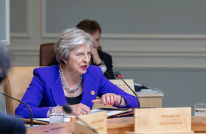 Prime Minister Theresa May speaking at the G7 summit in Canada