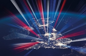 Map of the UK with lights