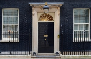 Outside the door of 10 Downing Street