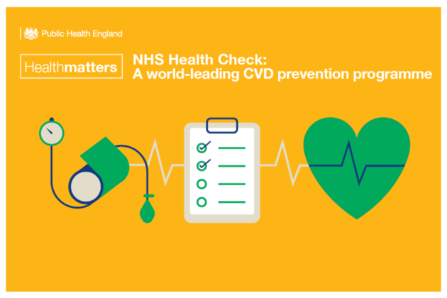 NHS Health Check infographic showing a checklist and a healthy heart.