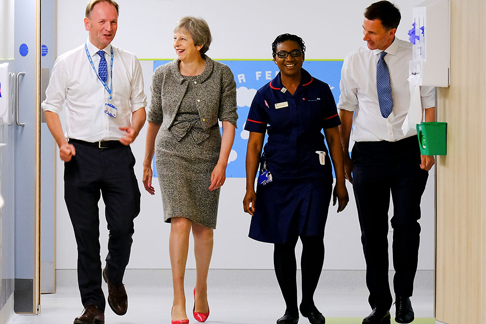 PM Theresa May visits a hospital