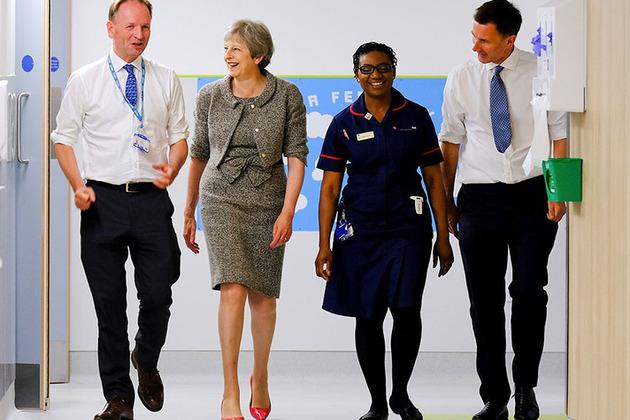 PM Theresa May visits a hospital