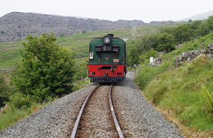 The derailed locomotive after coaches had been removed (image courtesy of the Ffestiniog and Welsh Highland Railways)