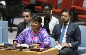 Fatou Bensouda, Chief Prosecutor for the International Criminal Court (ICC), briefs the Security Council on the situation in Sudan and South Sudan. (UN Photo)