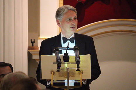 Chancellor Philip Hammond delivering his Mansion House speech at the podium