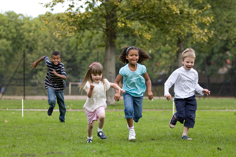 Children running outdoors