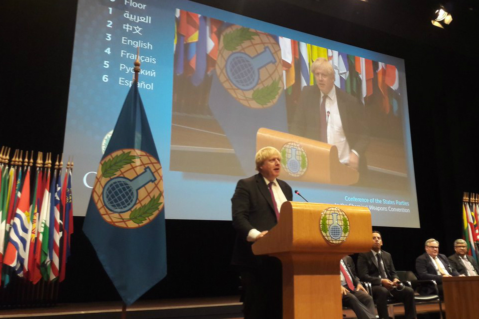Foreign Secretary Boris Johnson addresses the OPCW Special Conference of the States Parties
