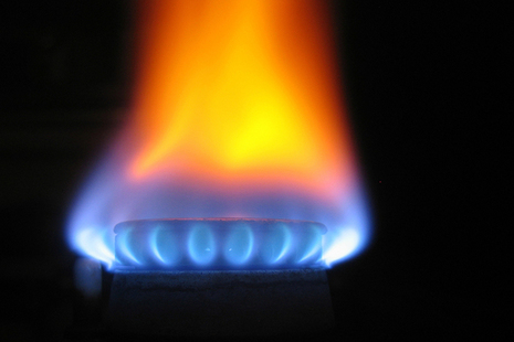 An image of a flame on a gas burner.