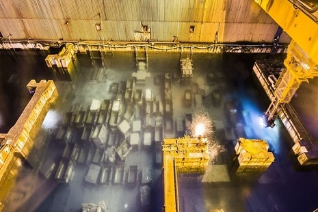 Empty nuclear fuel skips in the First Generation Magnox Storage Pond.