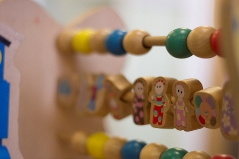 Close-up of wooden nursery toys