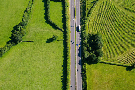 Road with green fields