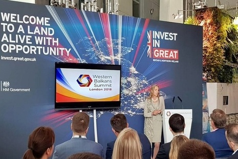 Minister for Trade and Export Promotion, Baroness Fairhead, addresses the London 2018 Western Balkans Summit.