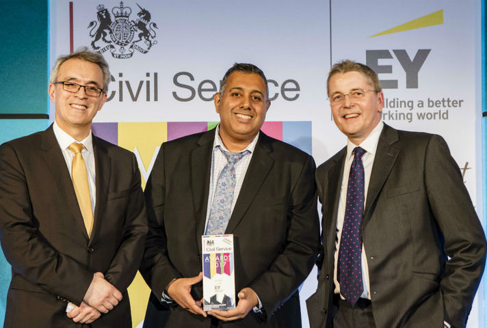 Award winner and presenters on stage at Civil Service Awards 2017