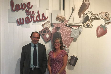 Lord Bourne at the 'Love The Words' exhibition at the Dylan Thomas Centre