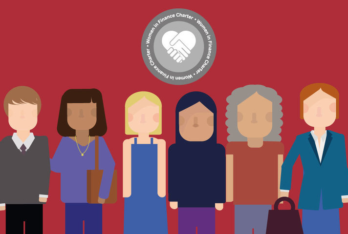 Graphic: Women on a red background with the Women in Finance logo featured in the background.