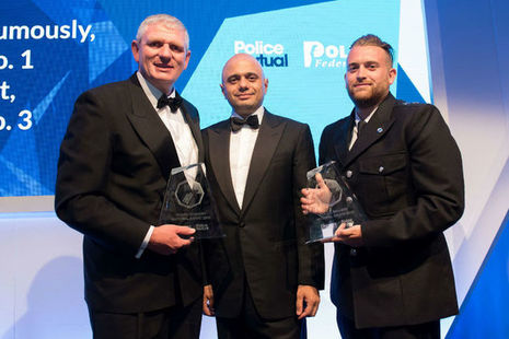 Home Secretary, Sajid Javid, with winners of the Police Bravery Awards