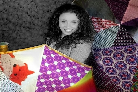Managing Director Hayley Smith and her patchwork products.