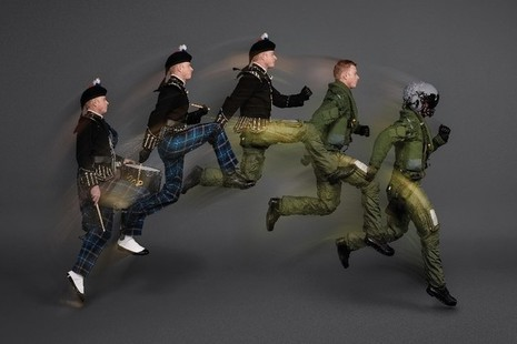 Royal Air Force Pilot transforms from a highland drummer into a Typhoon pilot. Image credit: The Royal Edinburgh Military Tattoo