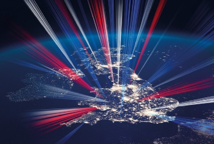 Picture of UK map with light paths
