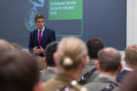 Defence Secretary Gavin Williamson addresses recipients of the Op Shader Medal