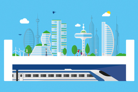 Illustration of a future city with HS2 train arriving